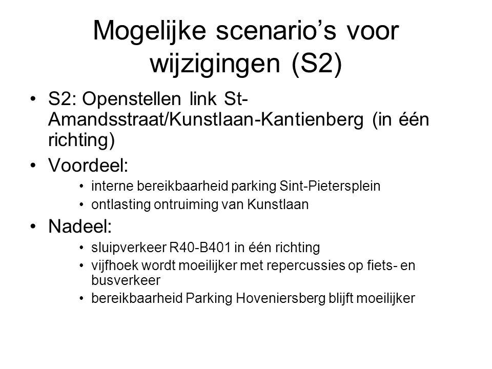 Mogelijke scenario's voor wijzigingen (S2) S2: Openstellen link St- Amandsstraat/Kunstlaan-Kantienberg (in één richting) Voordeel: interne bereikbaarh