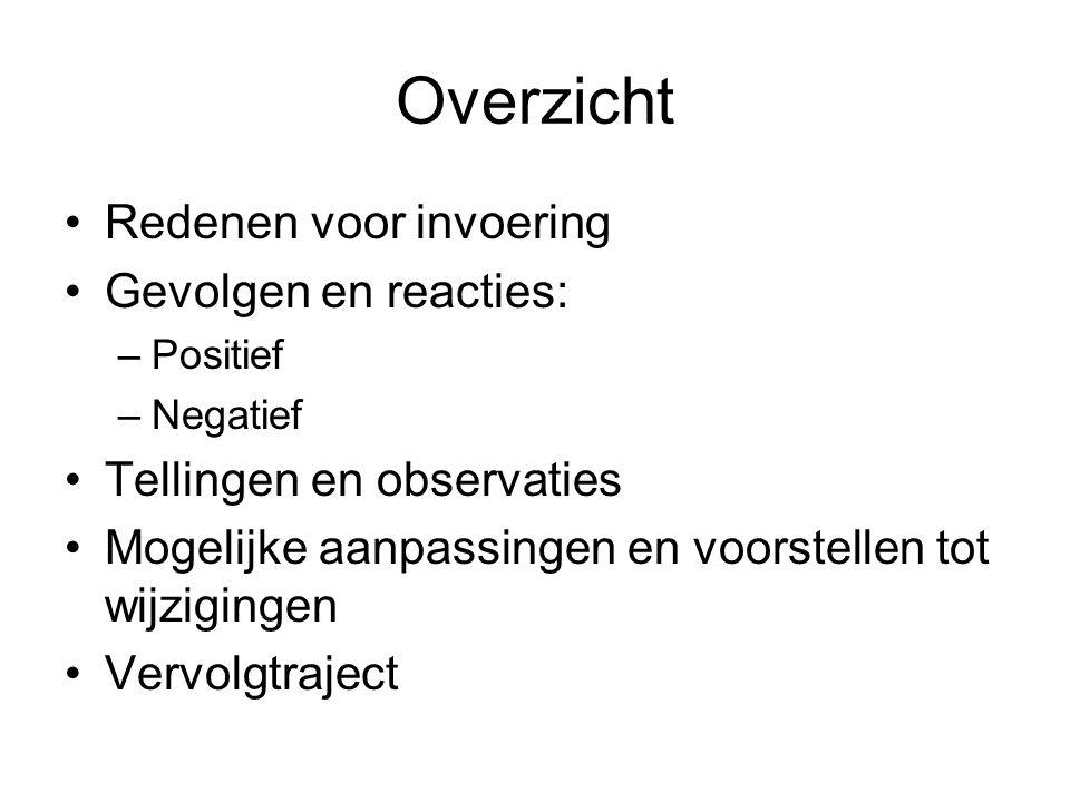 Overzicht Redenen voor invoering Gevolgen en reacties: –Positief –Negatief Tellingen en observaties Mogelijke aanpassingen en voorstellen tot wijzigin
