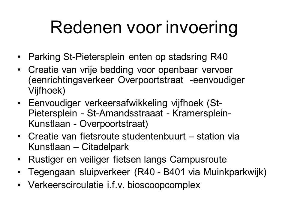 Redenen voor invoering Parking St-Pietersplein enten op stadsring R40 Creatie van vrije bedding voor openbaar vervoer (eenrichtingsverkeer Overpoortst