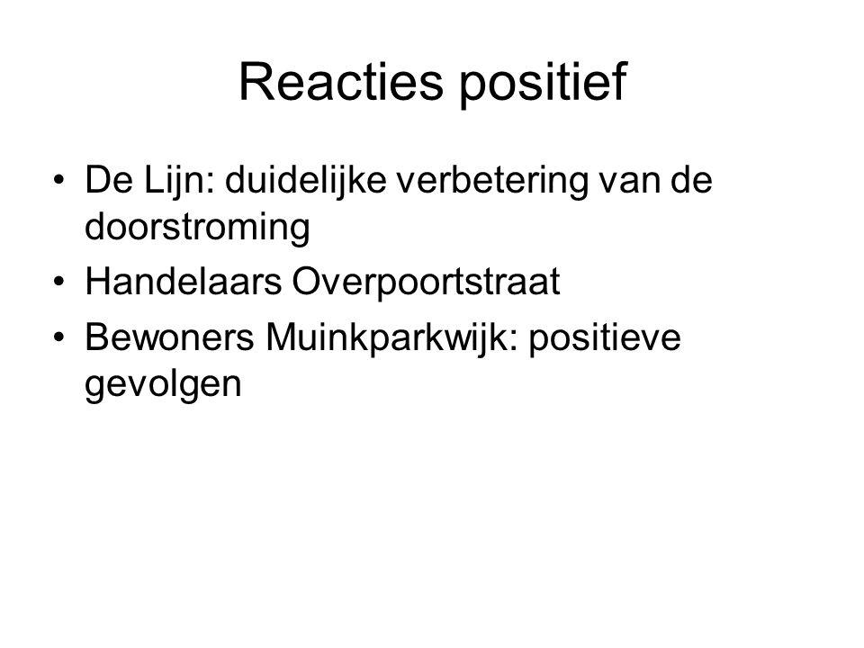 Reacties positief De Lijn: duidelijke verbetering van de doorstroming Handelaars Overpoortstraat Bewoners Muinkparkwijk: positieve gevolgen