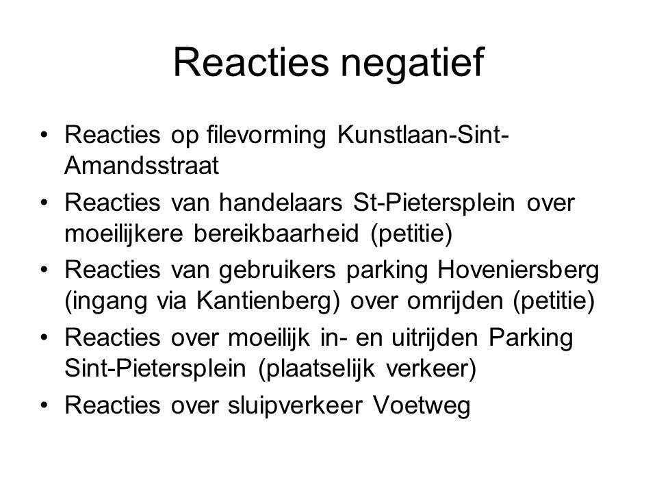 Reacties negatief Reacties op filevorming Kunstlaan-Sint- Amandsstraat Reacties van handelaars St-Pietersplein over moeilijkere bereikbaarheid (petiti