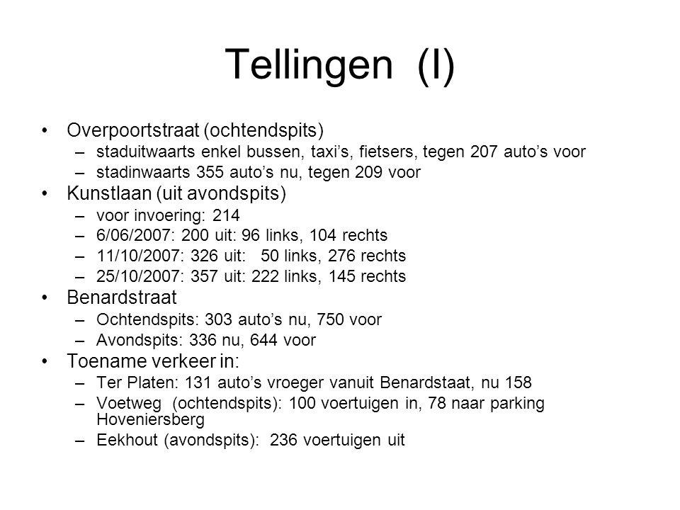 Tellingen (I) Overpoortstraat (ochtendspits) –staduitwaarts enkel bussen, taxi's, fietsers, tegen 207 auto's voor –stadinwaarts 355 auto's nu, tegen 2
