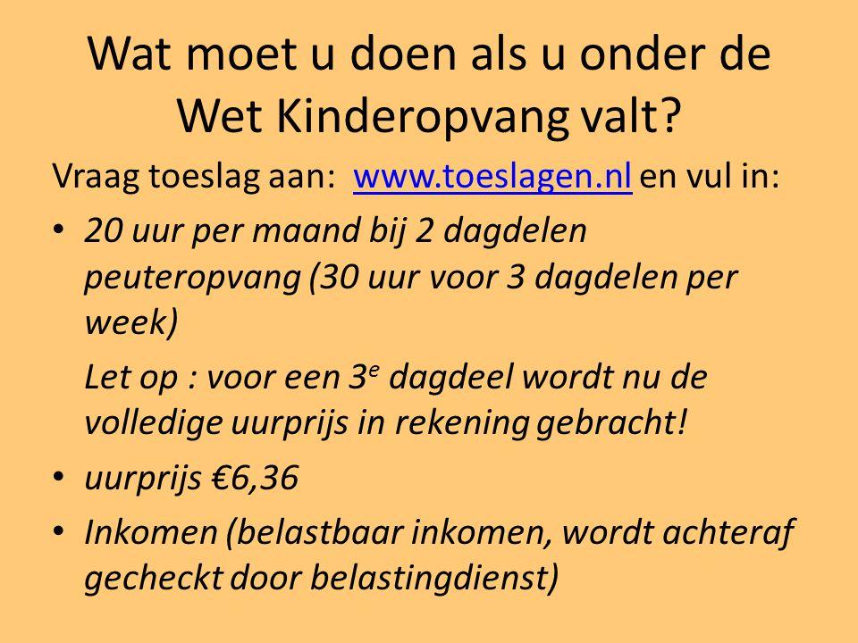 Wat moet u doen als u onder de Wet Kinderopvang valt? Vraag toeslag aan: www.toeslagen.nl en vul in:www.toeslagen.nl 20 uur per maand bij 2 dagdelen p