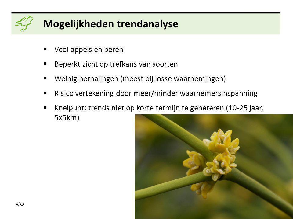 4/xx Mogelijkheden trendanalyse  Veel appels en peren  Beperkt zicht op trefkans van soorten  Weinig herhalingen (meest bij losse waarnemingen)  R