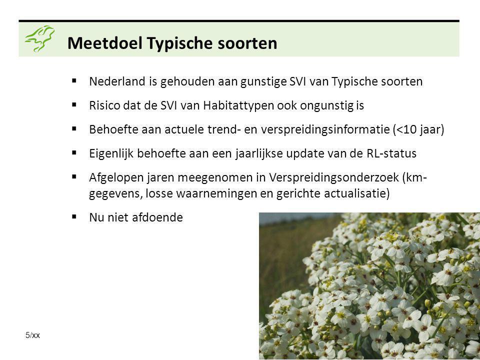 5/xx Meetdoel Typische soorten  Nederland is gehouden aan gunstige SVI van Typische soorten  Risico dat de SVI van Habitattypen ook ongunstig is  Behoefte aan actuele trend- en verspreidingsinformatie (<10 jaar)  Eigenlijk behoefte aan een jaarlijkse update van de RL-status  Afgelopen jaren meegenomen in Verspreidingsonderzoek (km- gegevens, losse waarnemingen en gerichte actualisatie)  Nu niet afdoende