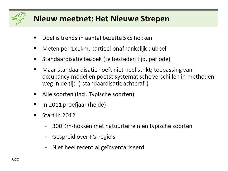 6/xx Nieuw meetnet: Het Nieuwe Strepen  Doel is trends in aantal bezette 5x5 hokken  Meten per 1x1km, partieel onafhankelijk dubbel  Standaardisati