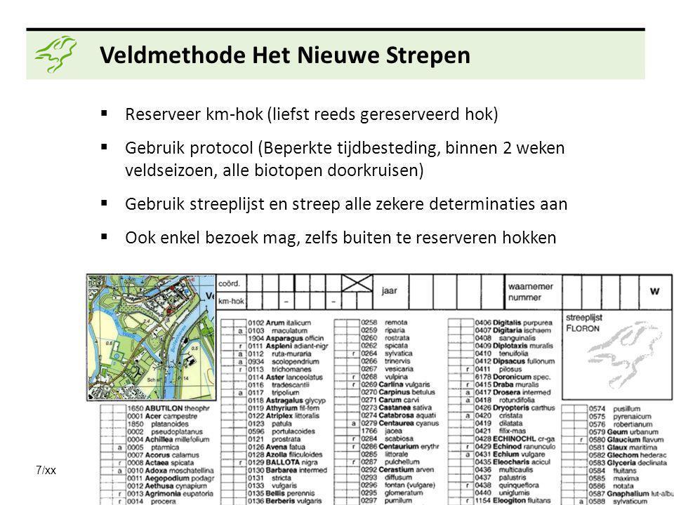 7/xx Veldmethode Het Nieuwe Strepen  Reserveer km-hok (liefst reeds gereserveerd hok)  Gebruik protocol (Beperkte tijdbesteding, binnen 2 weken veld