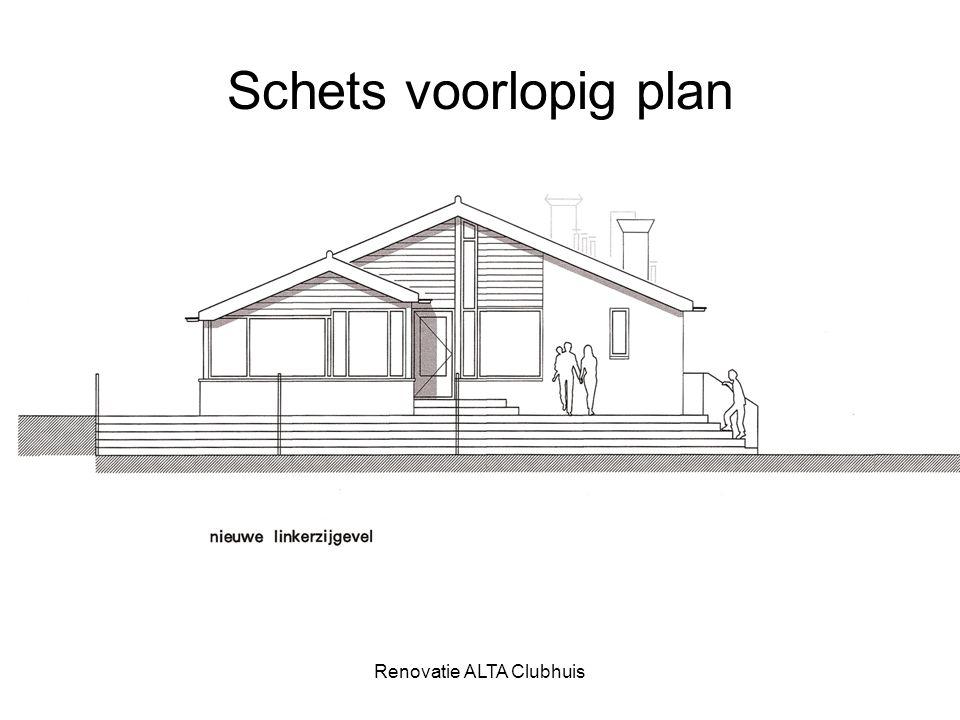 Renovatie ALTA Clubhuis Schets voorlopig plan