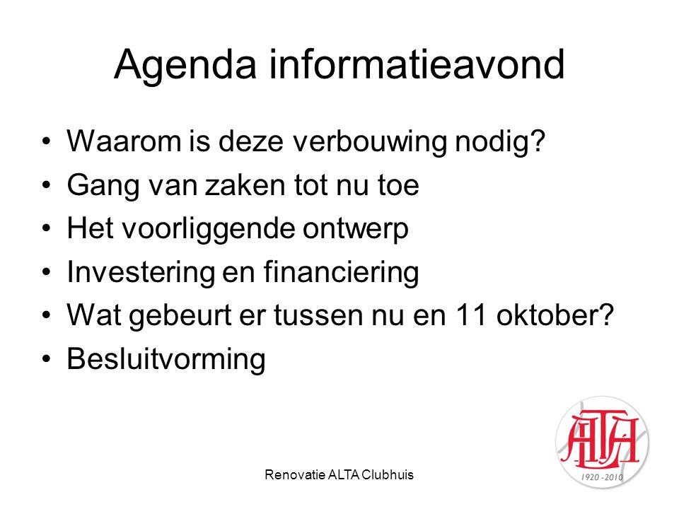 Agenda informatieavond Waarom is deze verbouwing nodig? Gang van zaken tot nu toe Het voorliggende ontwerp Investering en financiering Wat gebeurt er