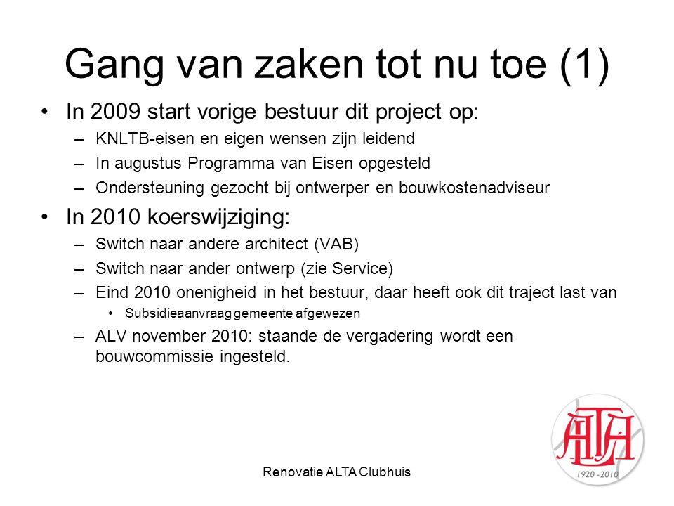 Renovatie ALTA Clubhuis Gang van zaken tot nu toe (1) In 2009 start vorige bestuur dit project op: –KNLTB-eisen en eigen wensen zijn leidend –In augus