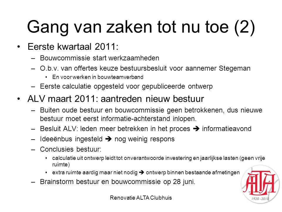 Gang van zaken tot nu toe (2) Eerste kwartaal 2011: –Bouwcommissie start werkzaamheden –O.b.v. van offertes keuze bestuursbesluit voor aannemer Stegem