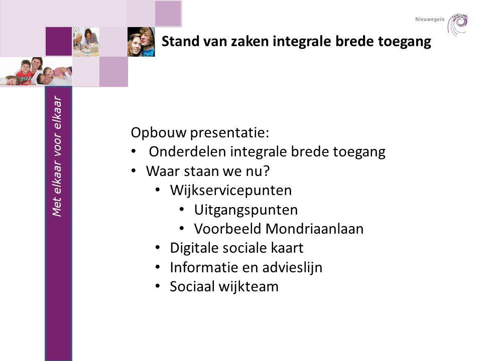 Met elkaar voor elkaar Stand van zaken integrale brede toegang Opbouw presentatie: Onderdelen integrale brede toegang Waar staan we nu.