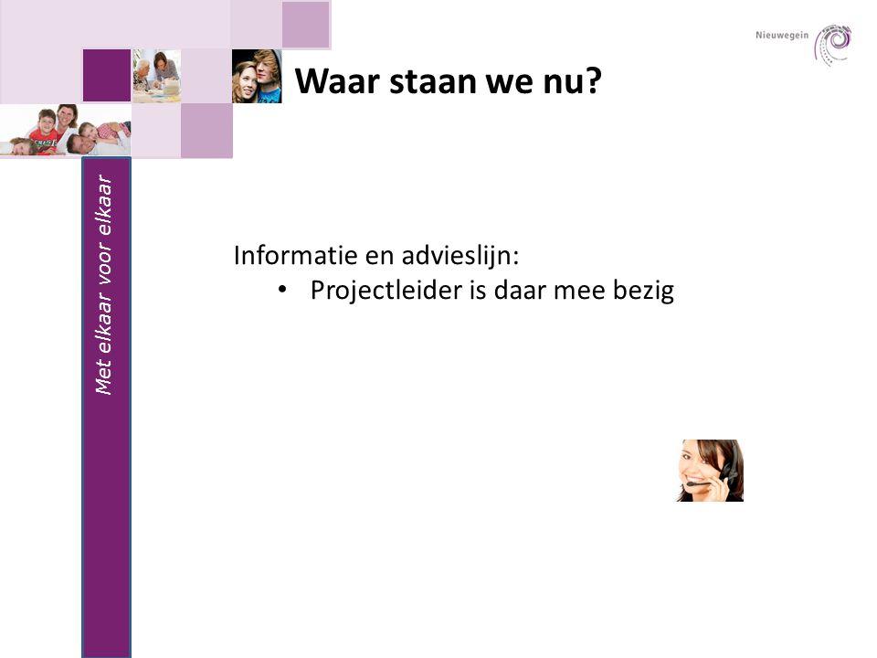 Waar staan we nu Met elkaar voor elkaar Informatie en advieslijn: Projectleider is daar mee bezig