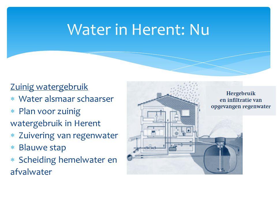 Zuinig watergebruik  Water alsmaar schaarser  Plan voor zuinig watergebruik in Herent  Zuivering van regenwater  Blauwe stap  Scheiding hemelwate