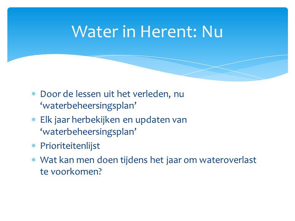  Door de lessen uit het verleden, nu 'waterbeheersingsplan'  Elk jaar herbekijken en updaten van 'waterbeheersingsplan'  Prioriteitenlijst  Wat ka