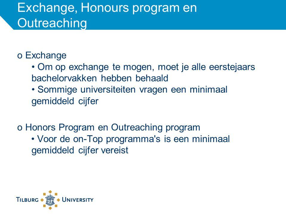 Exchange, Honours program en Outreaching o Exchange Om op exchange te mogen, moet je alle eerstejaars bachelorvakken hebben behaald Sommige universite