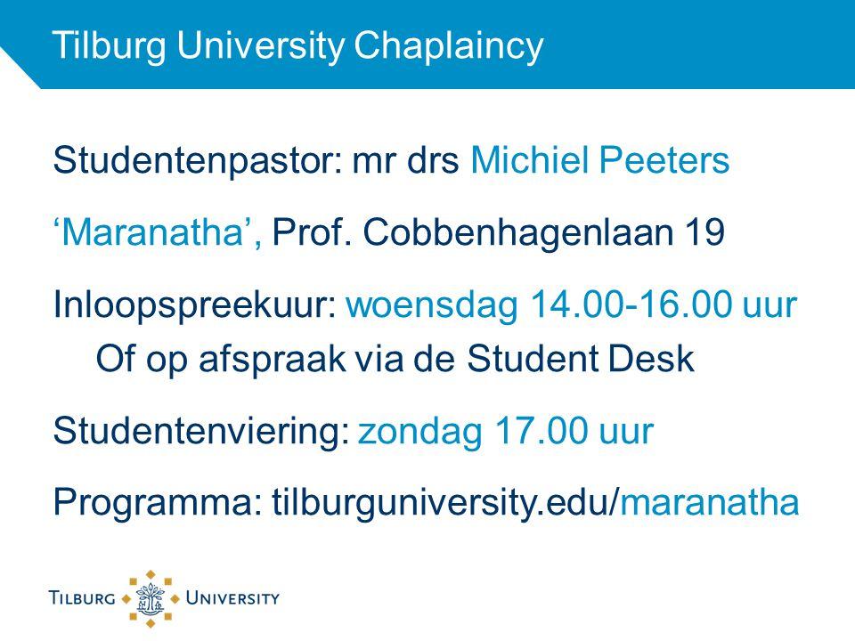 Studentenpastor: mr drs Michiel Peeters 'Maranatha', Prof. Cobbenhagenlaan 19 Inloopspreekuur: woensdag 14.00-16.00 uur Of op afspraak via de Student