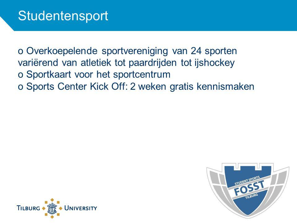 Studentensport o Overkoepelende sportvereniging van 24 sporten variërend van atletiek tot paardrijden tot ijshockey o Sportkaart voor het sportcentrum
