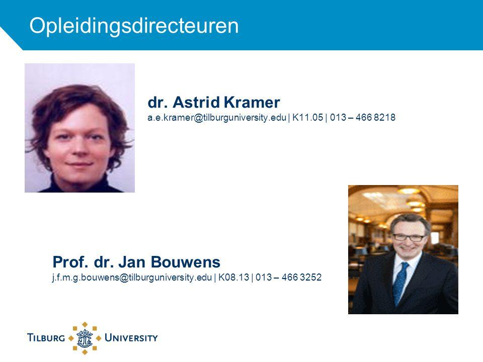 dr. Astrid Kramer a.e.kramer@tilburguniversity.edu | K11.05 | 013 – 466 8218 Opleidingsdirecteuren Prof. dr. Jan Bouwens j.f.m.g.bouwens@tilburguniver