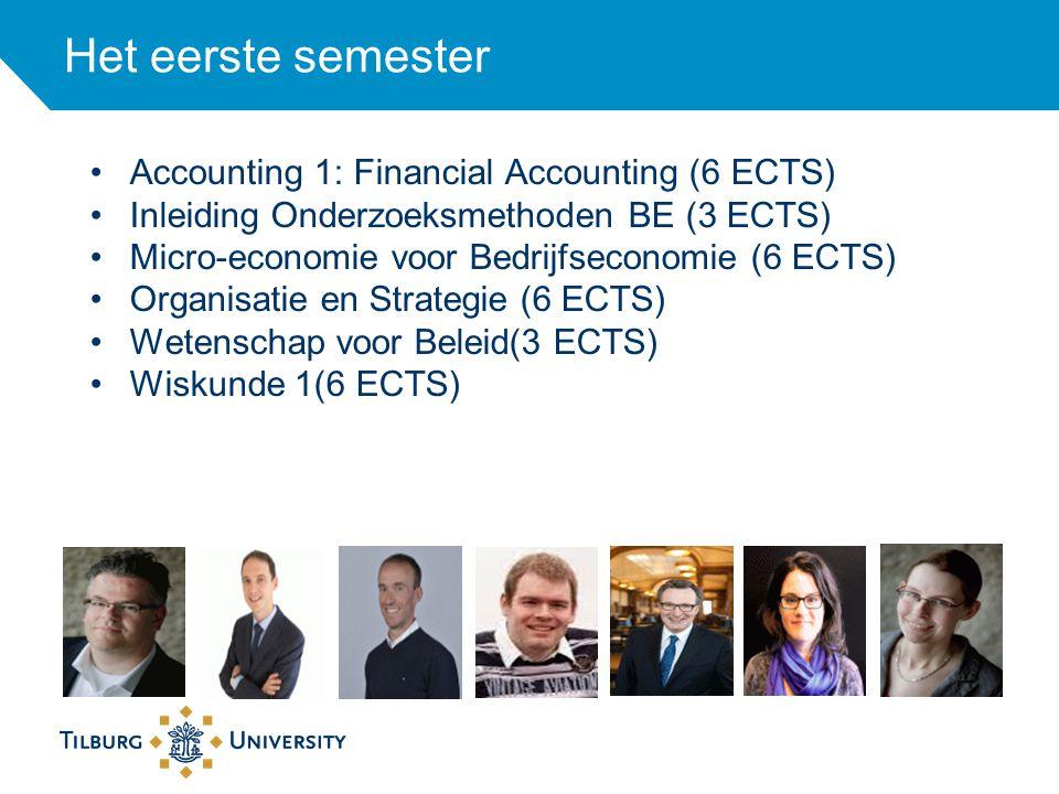 Het eerste semester Accounting 1: Financial Accounting (6 ECTS) Inleiding Onderzoeksmethoden BE (3 ECTS) Micro-economie voor Bedrijfseconomie (6 ECTS)