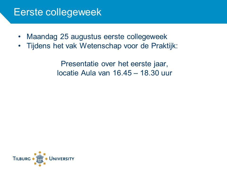 Eerste collegeweek Maandag 25 augustus eerste collegeweek Tijdens het vak Wetenschap voor de Praktijk: Presentatie over het eerste jaar, locatie Aula