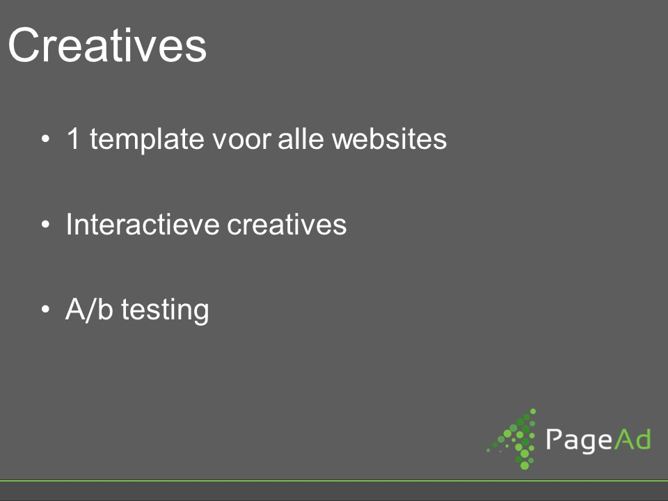 Creatives 1 template voor alle websites Interactieve creatives A / b testing