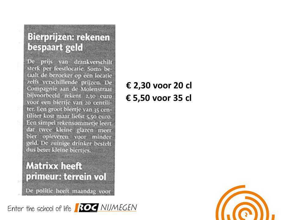 € 2,30 voor 20 cl € 5,50 voor 35 cl
