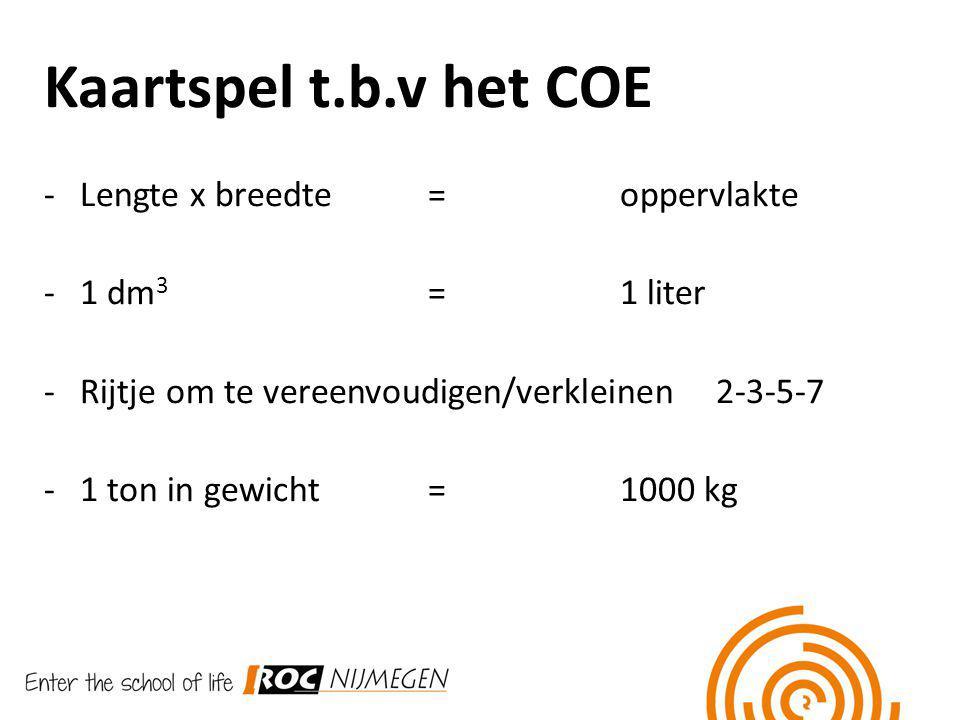 Kaartspel t.b.v het COE -Lengte x breedte = oppervlakte -1 dm 3 = 1 liter -Rijtje om te vereenvoudigen/verkleinen2-3-5-7 -1 ton in gewicht=1000 kg
