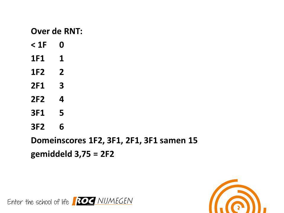 Over de RNT: < 1F0 1F11 1F22 2F13 2F24 3F15 3F26 Domeinscores 1F2, 3F1, 2F1, 3F1 samen 15 gemiddeld 3,75 = 2F2