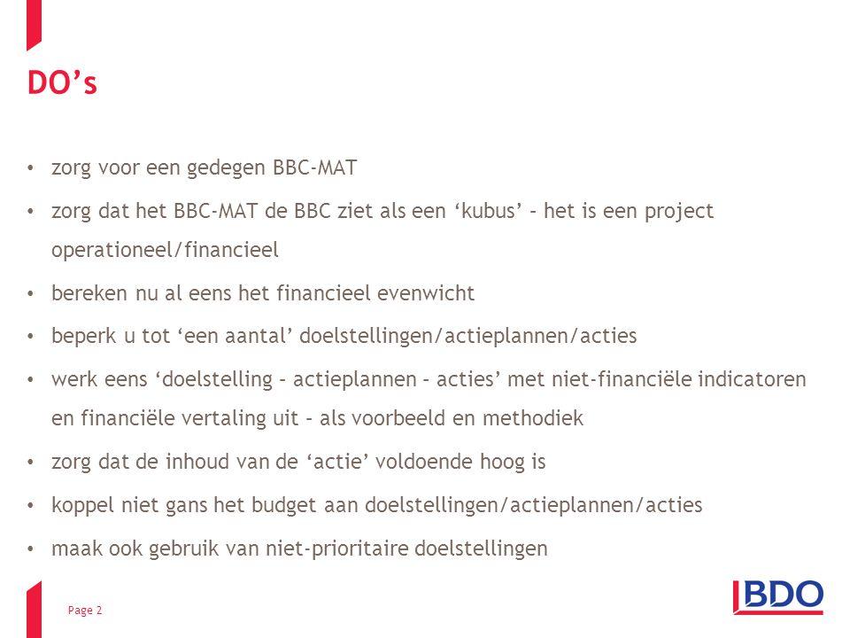 Page 2 DO's zorg voor een gedegen BBC-MAT zorg dat het BBC-MAT de BBC ziet als een 'kubus' – het is een project operationeel/financieel bereken nu al eens het financieel evenwicht beperk u tot 'een aantal' doelstellingen/actieplannen/acties werk eens 'doelstelling – actieplannen – acties' met niet-financiële indicatoren en financiële vertaling uit – als voorbeeld en methodiek zorg dat de inhoud van de 'actie' voldoende hoog is koppel niet gans het budget aan doelstellingen/actieplannen/acties maak ook gebruik van niet-prioritaire doelstellingen