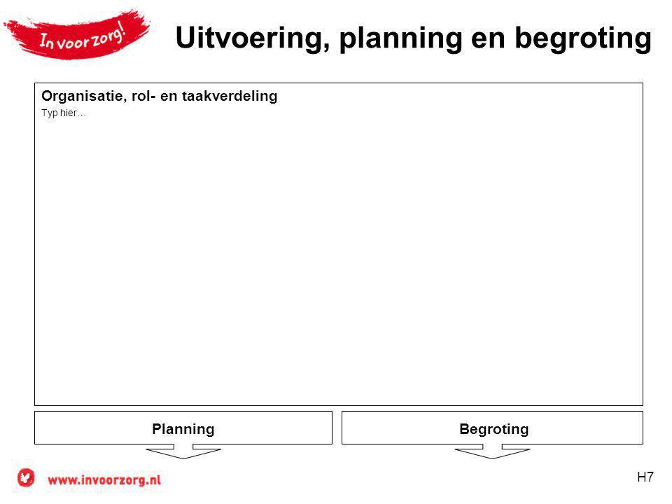 H7 Planning Uitvoering, planning en begroting Begroting Organisatie, rol- en taakverdeling Typ hier…