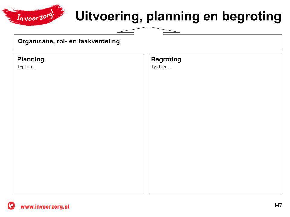 H7 Planning Typ hier… Uitvoering, planning en begroting Begroting Typ hier… Organisatie, rol- en taakverdeling