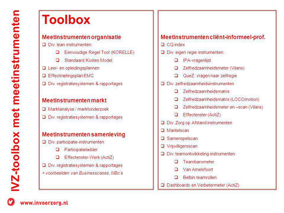 IVZ-toolbox met meetinstrumenten Toolbox Meetinstrumenten organisatie  Div. lean instrumenten:  Eenvoudige Regel Tool (KORELLE)  Standaard Kosten M