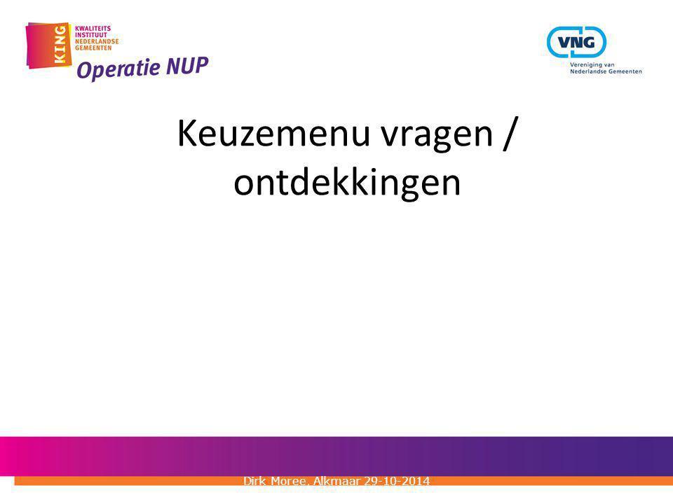 Keuzemenu vragen / ontdekkingen Dirk Moree, Alkmaar 29-10-2014