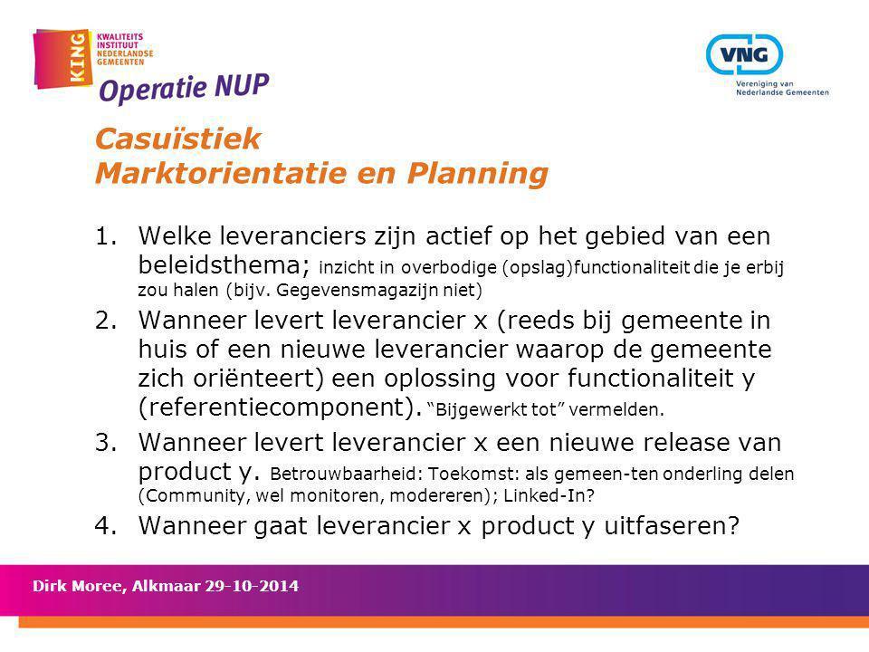 Casuïstiek Marktorientatie en Planning 1.Welke leveranciers zijn actief op het gebied van een beleidsthema; inzicht in overbodige (opslag)functionalit