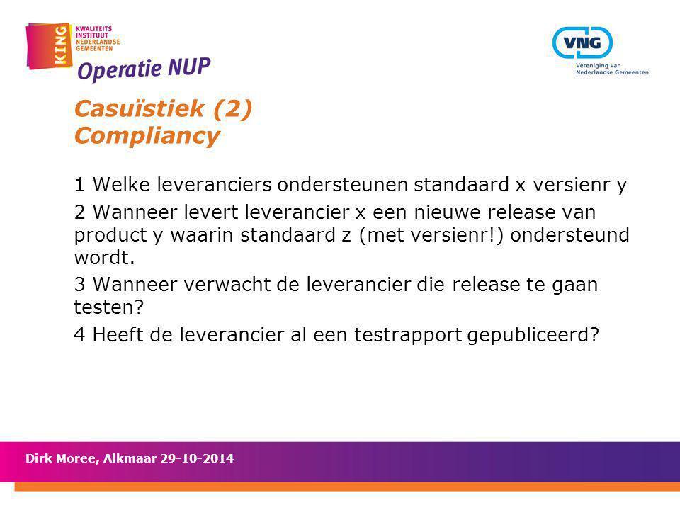 Casuïstiek (2) Compliancy 1 Welke leveranciers ondersteunen standaard x versienr y 2 Wanneer levert leverancier x een nieuwe release van product y waa