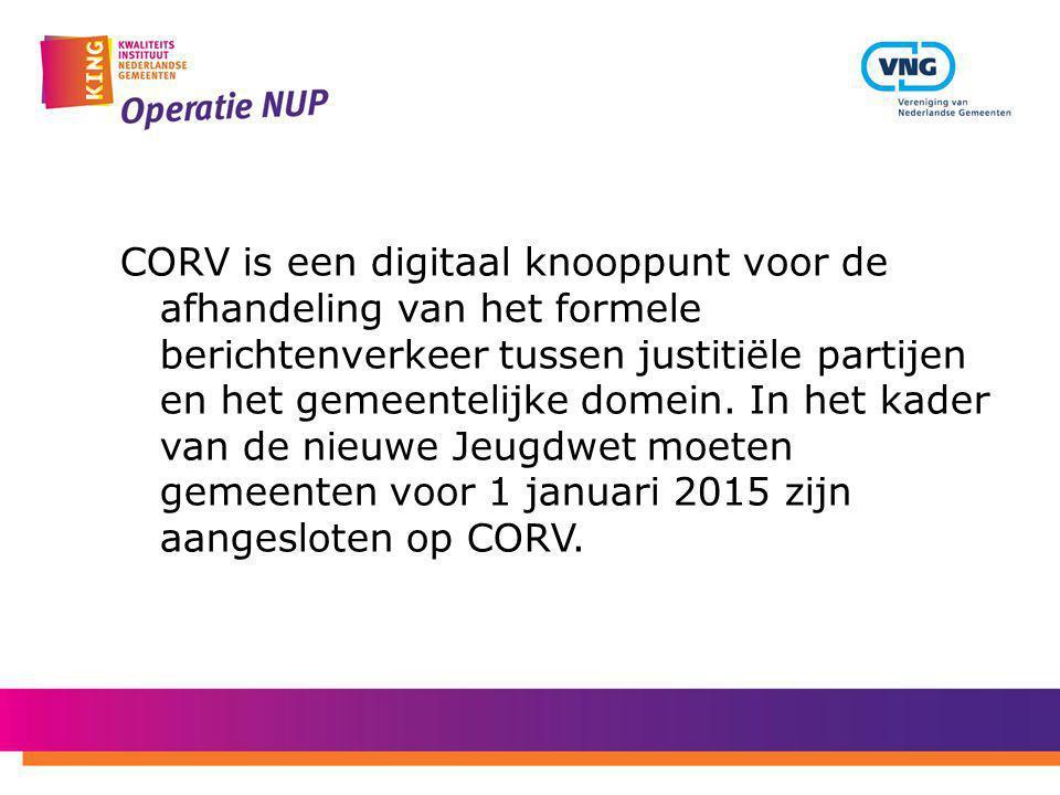 CORV is een digitaal knooppunt voor de afhandeling van het formele berichtenverkeer tussen justitiële partijen en het gemeentelijke domein. In het kad