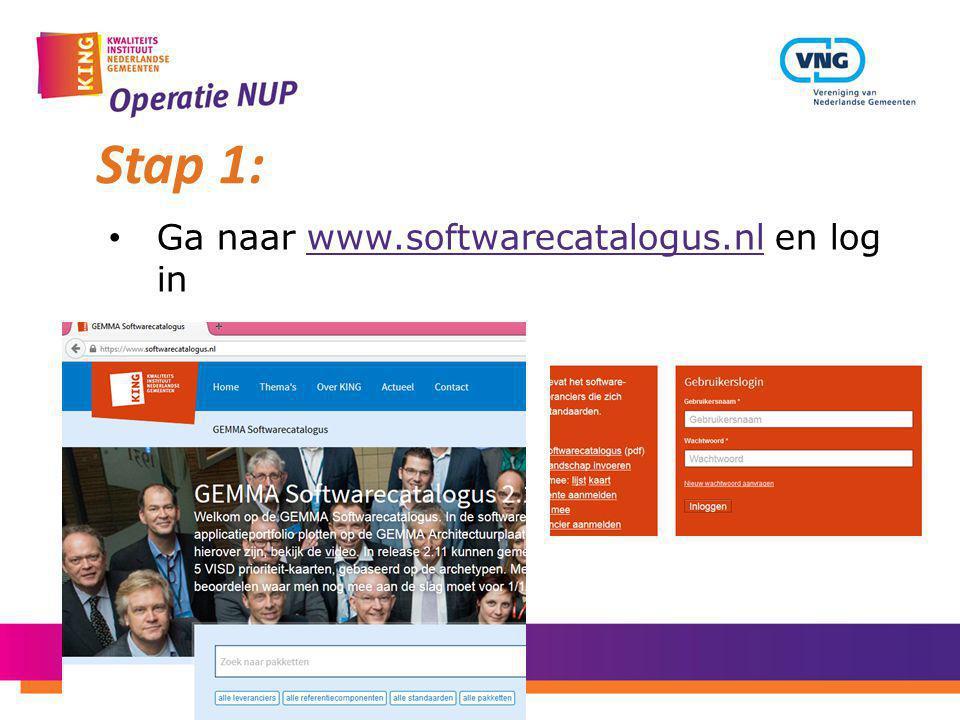 Ga naar www.softwarecatalogus.nl en log inwww.softwarecatalogus.nl Stap 1: