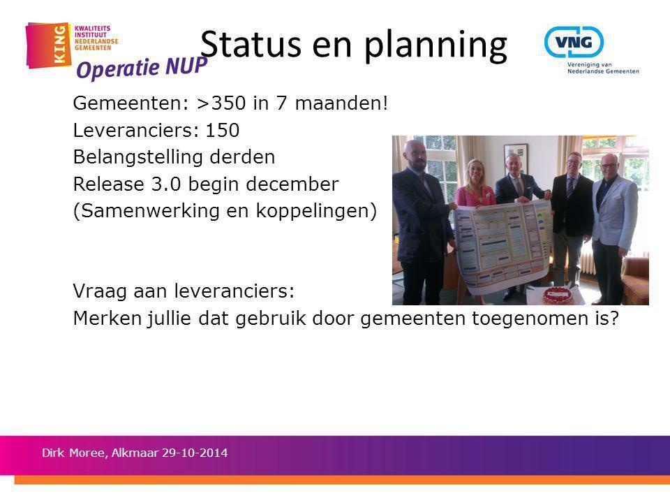 Status en planning Gemeenten: >350 in 7 maanden! Leveranciers: 150 Belangstelling derden Release 3.0 begin december (Samenwerking en koppelingen) Vraa