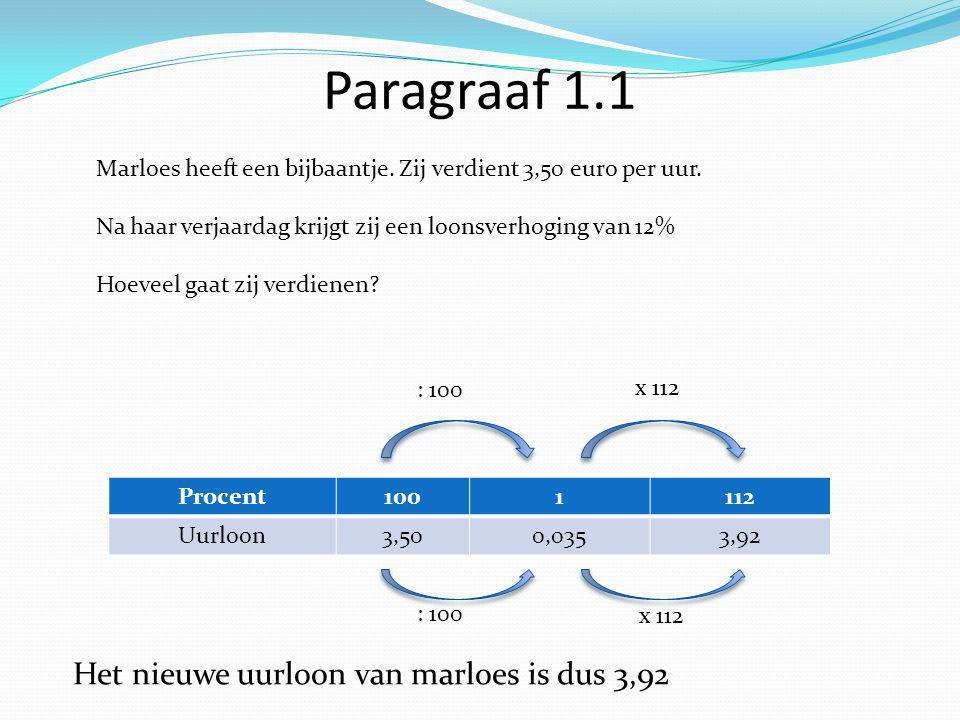 Paragraaf 1.1 Marloes heeft een bijbaantje. Zij verdient 3,50 euro per uur.
