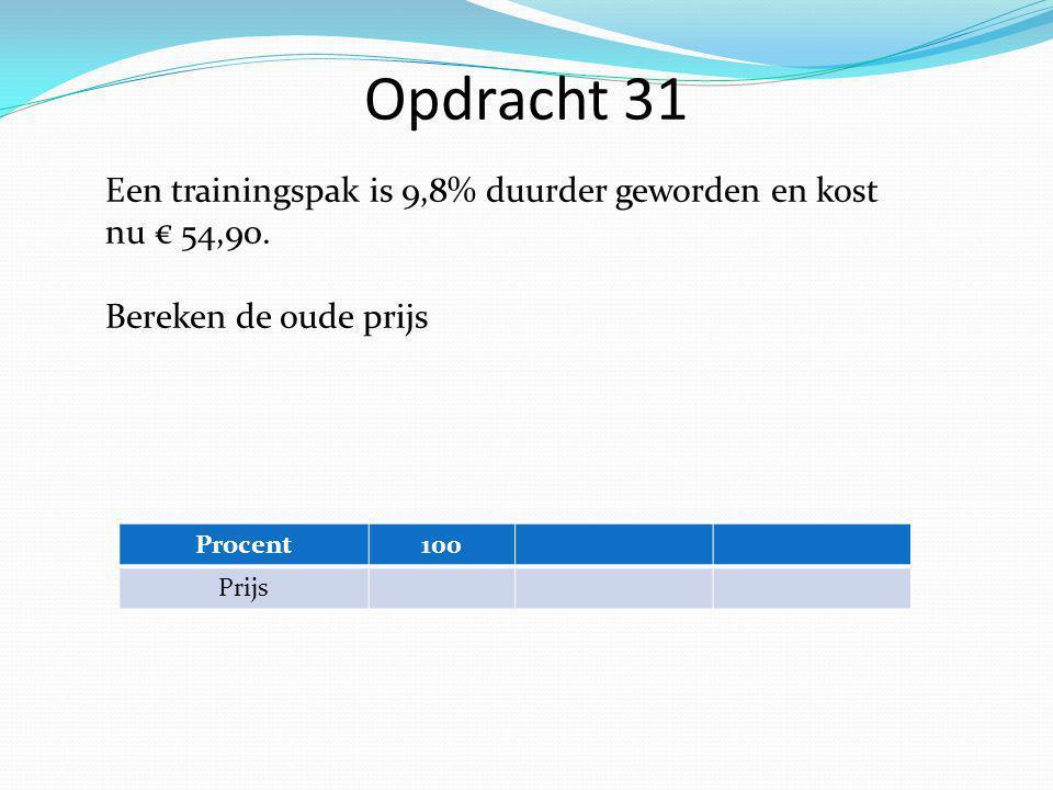 Opdracht 31 Een trainingspak is 9,8% duurder geworden en kost nu € 54,90.