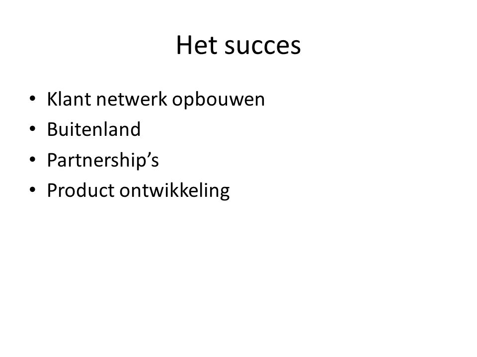 Het succes Klant netwerk opbouwen Buitenland Partnership's Product ontwikkeling