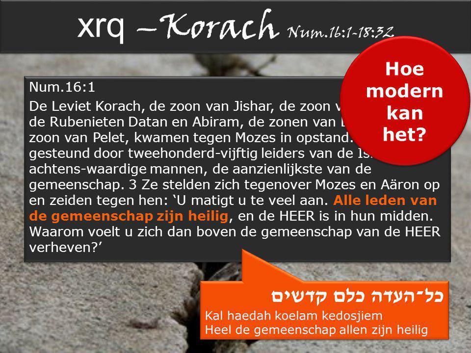 xrq –Korach Num.16:1-18:32 Num.16:1 De Leviet Korach, de zoon van Jishar, de zoon van Kehat, en de Rubenieten Datan en Abiram, de zonen van Eliab, en On, de zoon van Pelet, kwamen tegen Mozes in opstand.