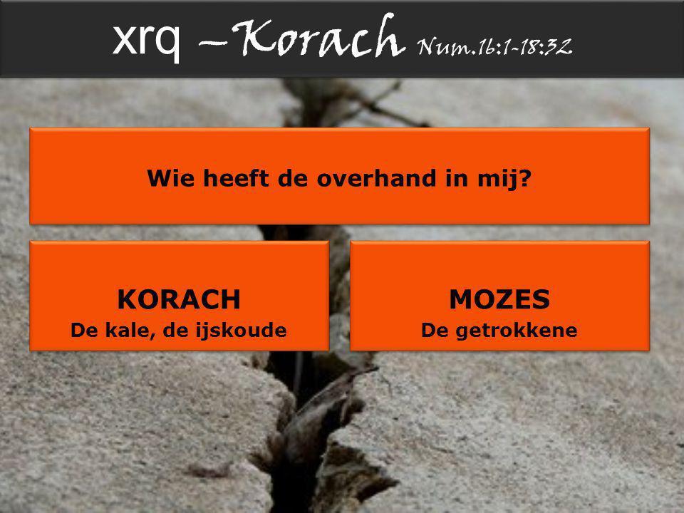 xrq –Korach Num.16:1-18:32 Wie heeft de overhand in mij.