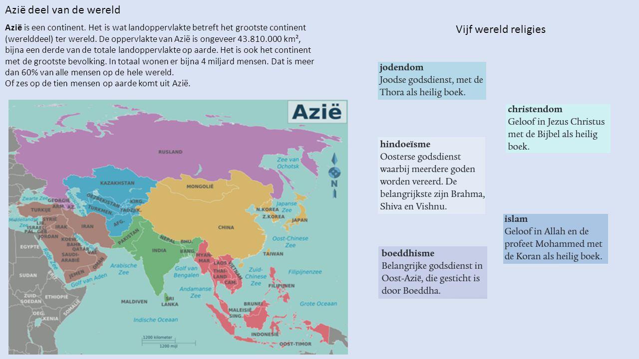 Azië is een continent. Het is wat landoppervlakte betreft het grootste continent (werelddeel) ter wereld. De oppervlakte van Azië is ongeveer 43.810.0