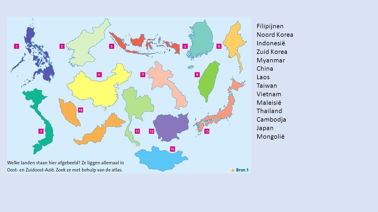 Filipijnen Noord Korea Indonesië Zuid Korea Myanmar China Laos Taiwan Vietnam Maleisië Thailand Cambodja Japan Mongolië