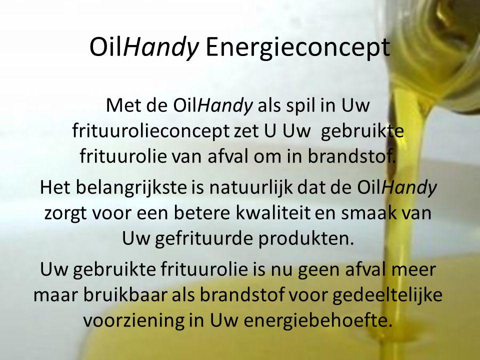 OilHandy Energieconcept Met de OilHandy als spil in Uw frituurolieconcept zet U Uw gebruikte frituurolie van afval om in brandstof.