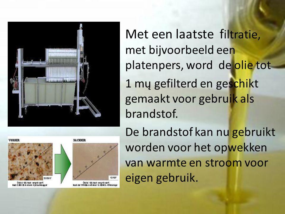 Met een laatste f iltratie, met bijvoorbeeld een platenpers, word de olie tot 1 mų gefilterd en geschikt gemaakt voor gebruik als brandstof.