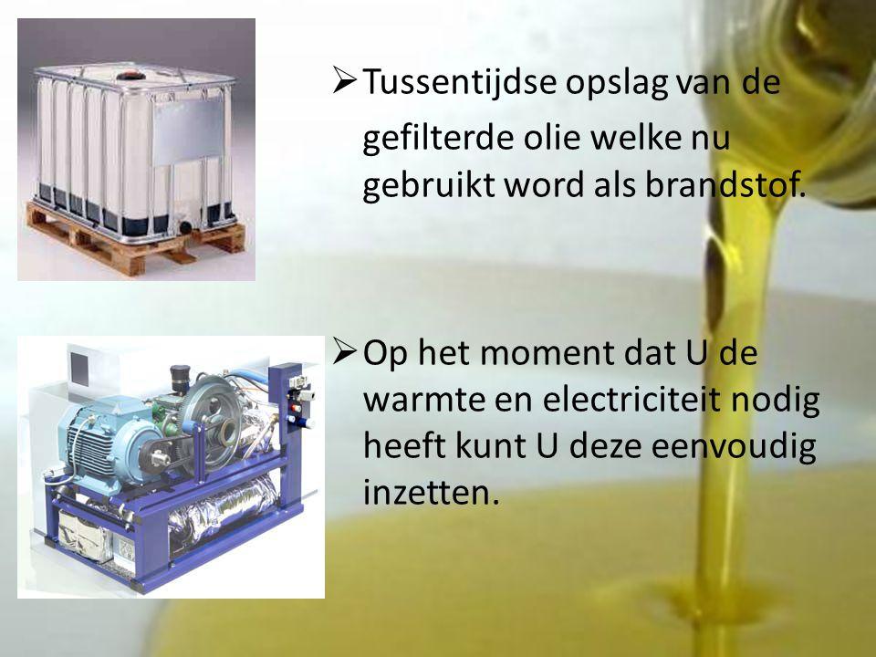  Tussentijdse opslag van de gefilterde olie welke nu gebruikt word als brandstof.
