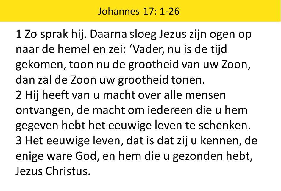 1 Zo sprak hij. Daarna sloeg Jezus zijn ogen op naar de hemel en zei: 'Vader, nu is de tijd gekomen, toon nu de grootheid van uw Zoon, dan zal de Zoon